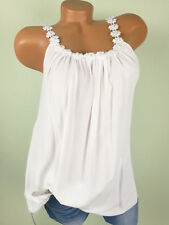 ♥ Italy TOP Tunika Shirt Damen Häkelspitze weiss PERLEN 38 40 42 44 S M L F62