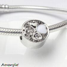 Perle charm Trèfle bracelet serpent europ. Type Pandora Argent Email Blanc