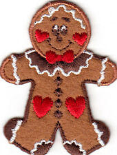 "GINGERBREAD MAN w/HEARTS (2 3/8"") Iron On Embroidered Patch Christmas Baking"