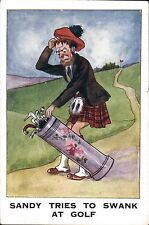 Golf Comic. Sandy Tries to Swank at Golf by J.T.& Co.,London. Scottish Humour.