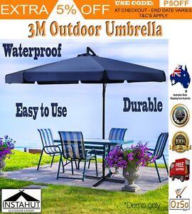 3M Outdoor Adjustable Folding Umbrella Garden Shade Large Pool Patio Market Blue