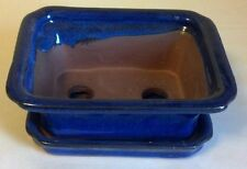 Lovely Classic Bonsai Pot and Attached Matching Saucer, Blue, New
