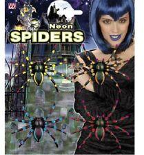 Neon Spiders 4 Pack Halloween Black Halloween Fancy Dress Accessory
