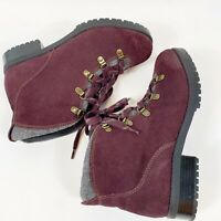 CLARKS Collection Soft Cushion Womens Lace Purple Suede Hiking Style Boot Sz 8.5