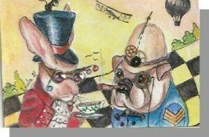 aceo NFAC misfits dog pug bulldog rabbit steampunk gears swarovski