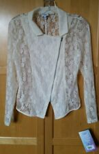 DISNEY D-SIGNED Girl Meets World Beige Lace Motorcycle Jacket. Large 14/16. NWT.