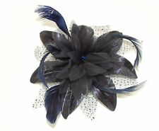 Flower and Feather Comb Fascinator Wedding Races Proms Bridal Hair Accessory Black