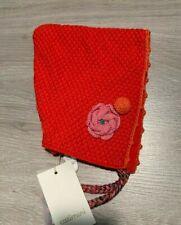 RRP £24 * CATIMINI * Girls Baby Designer Hat * Age 3-6m * 44cm * Red Orange