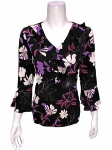 Susan Graver Printed Liquid Knit Top with Ruffle Detail Black/Purple Small Size