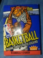 Fleer 1989 NBA Basketball - One Unopened Wax Pack 15 Cards & 1 Sticker - Sealed