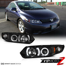 2006-2011 Honda Civic 2D Coupe FG Black Halo Angel Eye Projector Headlights Lamp