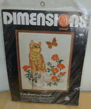 New DIMENSIONS Crewel 'CAT AND BUTTERFLY' Kit NIP