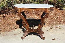 Walnut Victorian Rococo Turtle Marble Top Center Parlor Table ~ Ca.1860