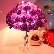 Hot Purple Rose LED Table Lamp Crystal Desk light Reading lamp bedroom Lighting