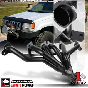 Black Exhaust Header Manifold for 91-99 Jeep Wrangler/Cherokee YJ/TJ 4.0 242 I6