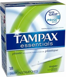 Tampax Essentials Super Absorbency Tampons w/ Plastic Applicator, Unscented - 18