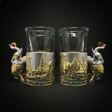 Pair Elephant Glass Shot Drink Holder Bar Kitchen Glassware Party Gold Silver