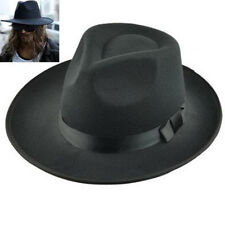 Men Women Vintage Cap Wide Brim Fedora Trilby Panama Hat Hard Felt Hat GangsterA