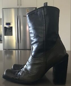 Rare MARIAGRAZIA RIPARI Brown & Khaki Leather Cowgirl Boots Size 38.5