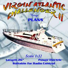 "Full Size Printed Plan  VIRGIN ATLANTIC  II Scale 1/32 26"" Radio Control"