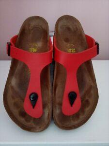 Birkenstock Gizeh Sandals Size 38 Worn Cherry Red