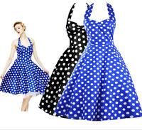 Black Blue White Polka Dot Dress AudreyHepburn 50s 60s Vintage Rockabilly Halter