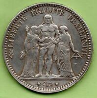 = FRANCE COIN,1875 PARIS MINT, 5 FRANCS SILVER, HERCULES GRADE MBC+/VF