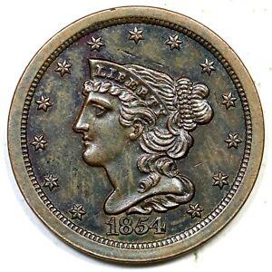 1854 Braided Hair Half Cent Coin 1/2c