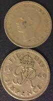 King George VI Sixpence Coin Wedding Something Old UK English 6 Pence Free Ship