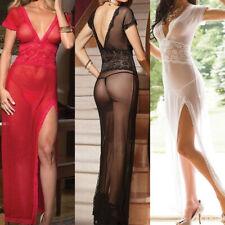 Women Mesh Sheer Lace Floral Long Dress Gown Sleepwear Babydoll Underwear Robes