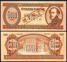 HUNGARY 5000 FORINT 31.7.1990 H SPECIMEN P177s UNC