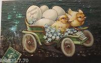 """""""Ostern, Küken, Auto, Eier, Vergissmeinnicht"""" 1900, Prägekarte ♥ (18456)"""