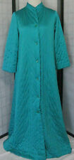 Vintage Vanity Fair Robe Long Quilted Sz8 Teal, Button Front Princess A-Line