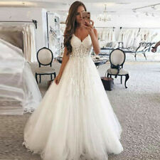 New White/ivory lace tulle Wedding dress Bridal Gown custom size2 4 6 8 10++