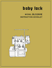 BABY LOCK BL-5280E BL-5380E NSTRUCTION MANUAL & Service book * CD or Download