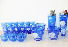 Hazel Atlas Cobalt Blue Windmill Glass Cocktail Shaker Ice Bucket Roly Poly Set