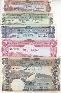 YEMEN YDR 250 500 FILS 1 5 10 DINARS 1965 1967 P-1b 2b 3b 4b P-5 EF/AU SET LOT 2