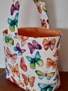Wollekorb, Handarbeitskorb, Utensilo, Strickkorb mit Henkel - Schmetterlinge 2