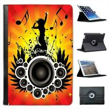 Jumping Woman Speakers With Music Note Folio Leather Case For iPad Mini & Retina