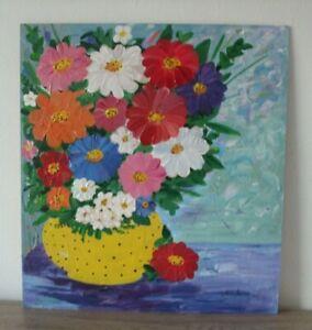 /44x41cm/ Acril Gemälde auf HDFplatte*Blumen in einer gelben Vase*Neu Original