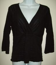 old navy womens top size large black open knit surplice neck 3/4 sleeve summer