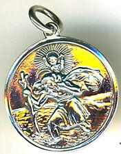 """925 Sterling Silver St. Christopher Medium Pendant Diameter 20mm  (3/4"""") Travel"""