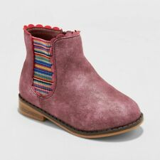 Cat & Jack Girls' Ashley Elastic Gore Ankle Boots Burgundy Toddler Size 5