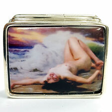 ENAMEL VICTORIAN STYLE NUDE LADY ON BEACH PILL BOX 925 SOLID STERLING SILVER