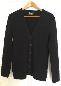 Vintage 1970's Norma TULLO Australian Merino Wool Black Cardigan Size M 10-12