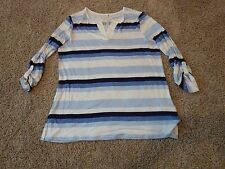 Leo & Nicole stripes knit long sleeve top, size M