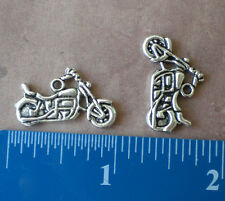 100 Harley Motorcycle Silver Tone Charm Pendants Jewelry Making Biker Chopper