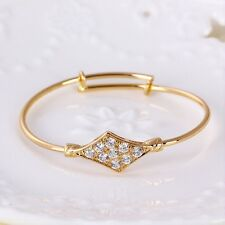"""9ct 9k Yellow """"Gold Filled"""" Baby Girl White C/Z Crystals Bangle Bracelet 44mm."""