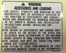 HONDA CBR1100XX BLACKBIRD  ACCESSORIES AND LOADING CAUTION WARNING LABEL DECAL