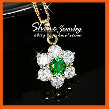 9K GOLD GF P166 CLUSTERS FLOWER SIMULATED DIAMOND EMERALD SOLID NECKLACE PENDANT